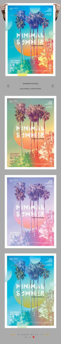 Minimal Summer Poster Template PSD