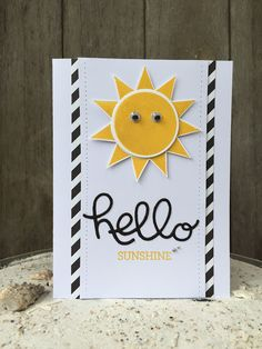 Bij Margriet Creatief; Stampin' Up!, SU, Hello You Thinlits, Crazy about You, Emboss powder, Ray of Sunshine, Crushed Curry, Neutrals Colour Collection paper, Hello Sunshine