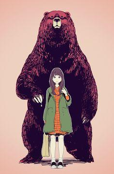 森のくまさん Character Illustration, Illustration Art, Art Sketches, Art Drawings, Wallpaper Fofos, Manga Anime, Estilo Anime, Bear Art, Anime Kawaii