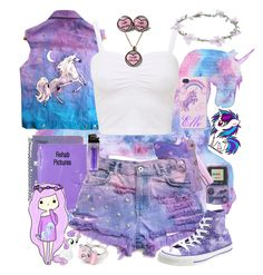 """Purple pastel unicorn"" by neverland-is-just-a-dream-away ❤ liked on Polyvore featuring St. Tropez, Converse, Wet Seal, L'ÉCLAIREUR, Muji, My Little Pony and Taipei Star"