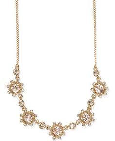 Givenchy Gold-Tone Glass Stone Frontal Necklace - Jewelry & Watches - Macy's