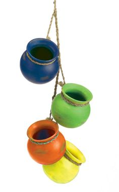 4 Hanging Ceramic Pots Southwest Garden Planter Outdoor Indoor Flower  #Fiesta