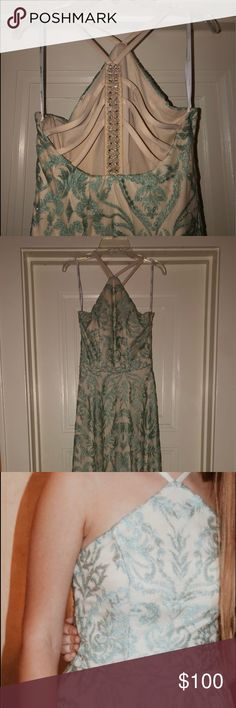 c439b6b02cc cream and green prom dress cream and green prom dress worn only once! dress  has a strappy back and halter neckline. no holes or tears and is good as new