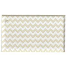 Sand Beige White Chevron Zig-Zag Pattern Table Card Holders