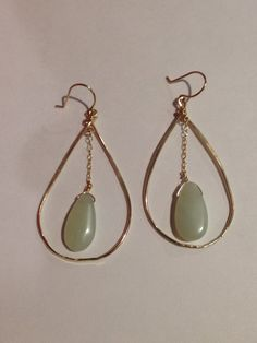 Teardrop Hoops with Jade Chain by christineleightexas on Etsy