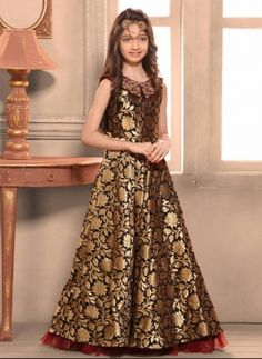 Taffeta Jacquard Birthday Party Wear Golden Gown For Young Girls