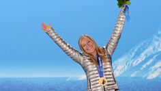 gold medalist Jamie Anderson posing on the podium during the women's snowboard slopestyle medal ceremony Sochi Winter Olympics on Feb. by Antonin Thuillier) Winter Olympics 2014, Winter Olympic Games, Winter Games, Winter Fun, Nbc Olympics, Jamie Anderson, Snowboarding Women, Meet Local Singles