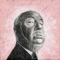 große druckbare Illustration   Alfred Hitchcock von fraubOLZadesign, $55.00