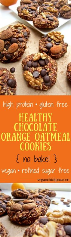 Healthy High Protein Chocolate Orange Oatmeal Cookies - no bake + refined sugar free + gluten free + vegan! | veganchickpea.com