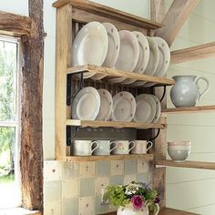 Decorating Ideas, Pin Wooden Plate Rack Wall Mounted In Duck Egg Blue Wash On… Wooden Dish Rack, Wooden Plate Rack, Plate Rack Wall, Wood Rack, Plate Racks, Wooden Plates, Wall Racks, Plates On Wall, Side Plates