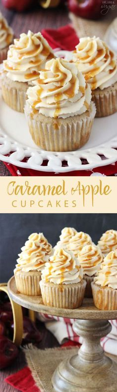 These beautiful cupcakes will be perfect for a Halloween party or the Thanksgiving dessert table! Caramel Apple Cupcakes Recipe | Life Love and Sugar