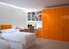 Orange High Gloss Fitted Bedroom Wardrobes