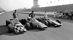 Three of the great ones 1969 Indy 500 front-row qualifiers Bobby Unser, Mario Andretti and A. Indy Car Racing, Indy Cars, Brick Yard, 500 Cars, Vintage Race Car, Vintage Auto, Indianapolis Motor Speedway, Mario Andretti, American Racing