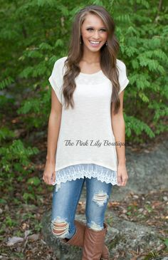 The Pink Lily Boutique - Dainty Darling Top Beige , $32.00 (http://thepinklilyboutique.com/dainty-darling-top-beige/)