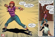 Mary Jane kicks butt in Superior Spider-Man Marvel Heroes, Marvel Dc, Marvel Comics, The Superior Spider Man, Mary Jane Watson, Betty And Veronica, Splash Page, Spiderman Art, Spider Verse