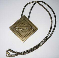 Bronze Diamond Pendant w Bronze Running Greyhound Dog by suebero