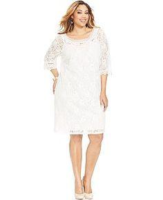 ff73164c33f ING Trendy Plus Size Lace A-Line Dress   Reviews - Dresses - Plus Sizes -  Macy s