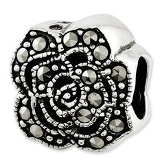 Sterling Silver Reflections Marcasite Flower Bead Charm - JewelryWeb