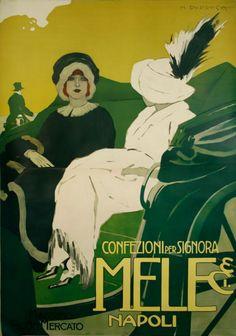 Poster by marcello dudovich ad for ink cartel for Grandi case a buon mercato