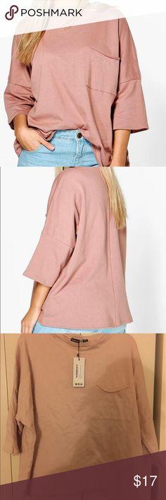Front Pocket Sweat Top Very light pink. Sweatshirt material. Very comfy. Boohoo Plus Tops Sweatshirts & Hoodies