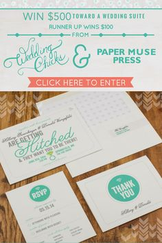 Win $500 toward your wedding stationery From Paper Muse Press. Enter here http://woobox.com/8aney9