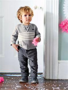 Conjunto de jersey + pantalón bebé niño GRIS MEDIO LISO CON MOTIVOS
