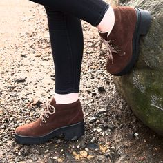 schuh Hitch Hike brown lace up ankle boots