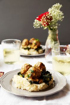 Dinner for Two: Braised Meatballs, Roasted Garlic Mashed Potatoes & Roasted Kale - The Candid Appetite