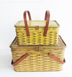 Vintage  Metal Picnic Basket . Wood Swing Handles . Basket Weave Metal Storage Tin. Salerno Cookies and Crackers Tin by JunkFromMyTrunk on Etsy https://www.etsy.com/listing/289810815/vintage-metal-picnic-basket-wood-swing