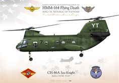 "UNITED STATES MARINE CORPS MARINE MEDIUM HELICOPTER SQUADRON 164 (HMM-164) ""Flying Death"" MAG-16, Vietnam"