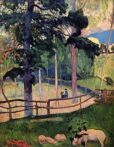 Nostalgic Promenade by Paul Gauguin in oil on canvas, done in Now in a private collection. Find a fine art print of this Paul Gauguin painting. Paul Gauguin, Henri Matisse, Impressionist Artists, French Art, Art Plastique, Vincent Van Gogh, Tahiti, Canvas Art Prints, Great Artists