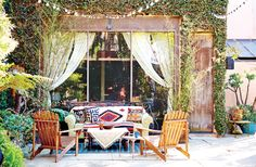 A colorful outdoor area at Brent Bolthouse's Venice home