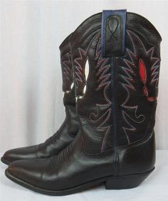 Women Cowboy Boots Black Leather Red White Blue Detail Stitching Size 8 5 M US | eBay $39.95 #Boots