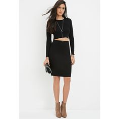 Forever 21 Ribbed Knit Pencil Skirt ($23) ❤ liked on Polyvore featuring skirts, forever 21 skirts, women skirts, full length skirt, knee length pencil skirt and pencil skirt