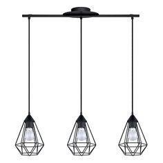 Tarbes Suspension géométrique à 3 lumières en acier noir L79cm