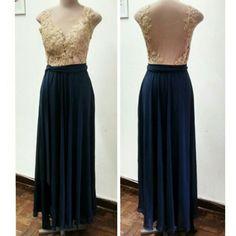 Vestido longo com renda aplicada  @atelierceliavieira