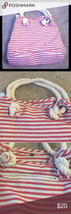 Stripped canvas bag 13 inches in height, and 13 inches wide. Rope handles add character to this bag. Large and roomy. Can be used as a tote or beach bag. One flaw see pics. Great bag in great condition. Talbots Bags