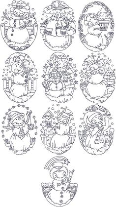 Advanced Embroidery Designs - Redwork Snowman Set
