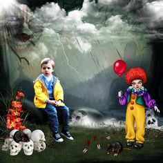 Bribri62-Scrap: Ma page avec le Kit The bad clown de Kittyscrap