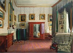 Views of Clarence House: the Duchess of Kent's bedroom, Among family portraits shown are King Leopold (on the left), Prince and Princess of Hohenlohe-Langenburg by Leybold and Prince of Leiningen & Princess Feodore by Dawe. Clarence House, Hall Interior, Interior Photo, Interior Design, Anmer Hall, Bed Drapes, Royal Residence, Queen Of England, Royal Palace