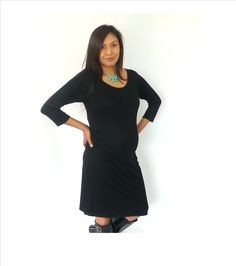 Black scoop neck 3/4 sleeves, rushed on the bump area maternity dress, cute maternity clothes. by DJammarMaternity on Etsy https://www.etsy.com/listing/280481344/black-scoop-neck-34-sleeves-rushed-on