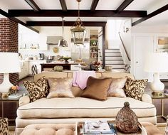 not a slipcover but love the contrast cording,pillows and the pink throw!