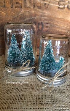 White bottle brush tree mason jar snow globeterrarium