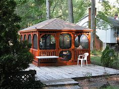 This is a 12 x 20 Rectangle Gazebo with a Screen Package, Cedar Stain and Asphalt Shingles. Enclosed Gazebo, Screened Gazebo, Hot Tub Gazebo, Backyard Gazebo, Deck With Pergola, Pergola Patio, Outdoor Gazebos, Patio Canopy, Cedar Stain