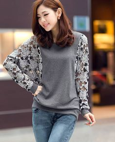 Women Elegant Slim Lace Round Neck Long Sleeve T Shirt - Lalalilo.com Shopping - The Best Deals on Women's Tops