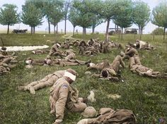 Australian soldiers blinded in a German gas attack at an aid station near Bois de l'abbe, they had been gassed in the operations in front of Villers-Bretonneux, France, May [Colorized by Royston Leonard] World War One, First World, Man Of War, Colorized Photos, Commonwealth, World History, Ww1 History, Military History, Wwii