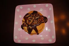 turtle pancakes: chocolate+ caramel+ pecans Must try they are sooo good!