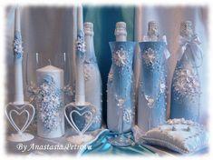 """Купить Свадебный набор """"Любовь заключается на небесах"""" - свадебные аксессуары, ручная работа, свадебные бокалы"""