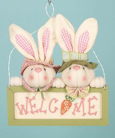 Take a look at this Welcome Bunnies Sign by Transpac Imports on #zulily today!