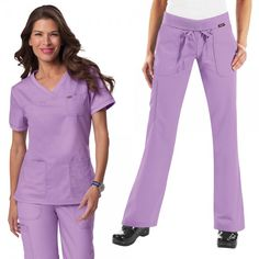 Koi Comfort Set Koi Scrubs Suit for Women in French Lilac. The Koi Comfort Set is a combination of our very comfy Koi Nicole Top and Koi Morgan Trousers. £52.50   #nursescrubs #dentistuniform #nurses #dentists #purplescrubs